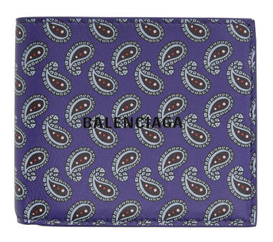 Balenciaga Purple Paisley Printed Wallet