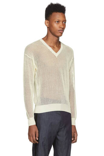 Dsquared2 Off-White Mesh V-Neck Sweater