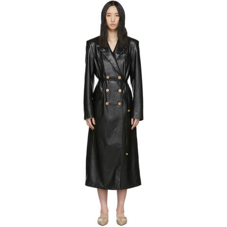 Nanushka Black Vegan Leather Manila Coat