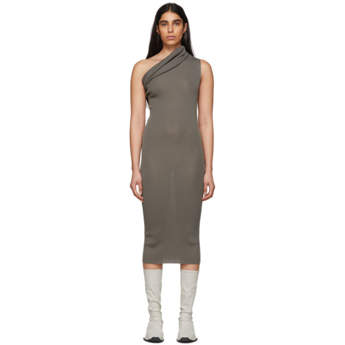 Rick Owens Grey One-Shoulder Dress